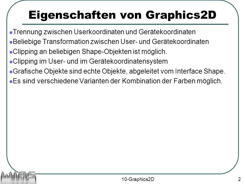 10-Graphics2D2 Eigenschaften von Graphics2D Trennung zwischen Userkoordinaten und Gerätekoordinaten Beliebige Transformation zwischen User- und Gerätekoordinaten Clipping an beliebigen Shape-Objekten ist möglich.