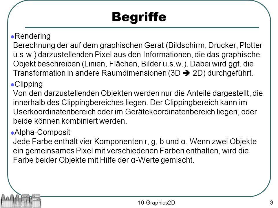 10-Graphics2D3 Begriffe Rendering Berechnung der auf dem graphischen Gerät (Bildschirm, Drucker, Plotter u.s.w.) darzustellenden Pixel aus den Informationen, die das graphische Objekt beschreiben (Linien, Flächen, Bilder u.s.w.).