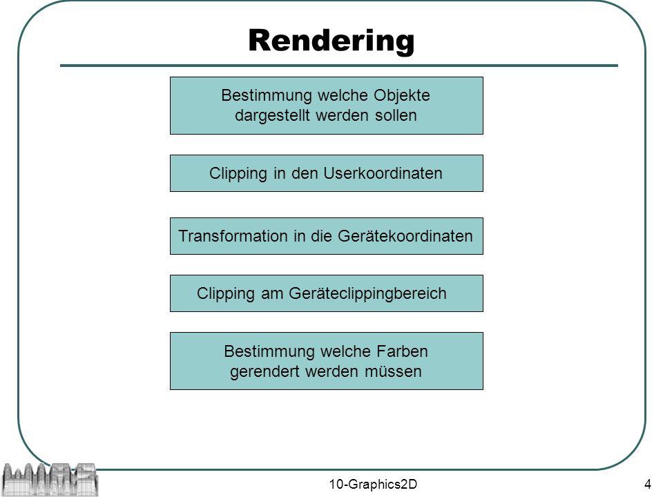 10-Graphics2D4 Rendering Bestimmung welche Objekte dargestellt werden sollen Clipping in den Userkoordinaten Bestimmung welche Farben gerendert werden müssen Transformation in die Gerätekoordinaten Clipping am Geräteclippingbereich