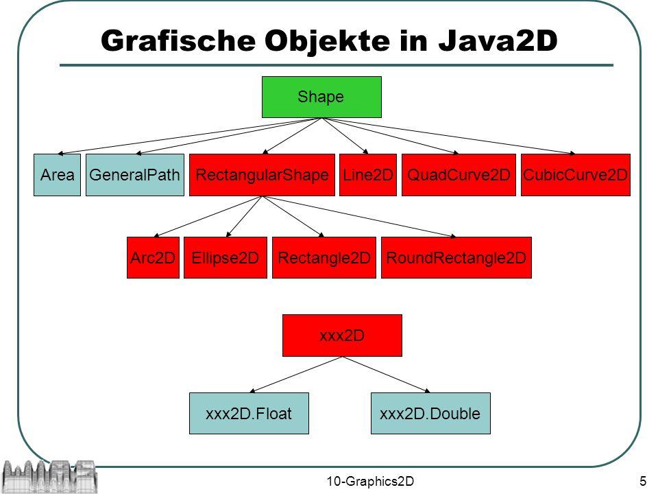 10-Graphics2D5 Grafische Objekte in Java2D Shape RectangularShape Rectangle2D AreaLine2DGeneralPathQuadCurve2DCubicCurve2D Arc2DEllipse2DRoundRectangle2D xxx2D xxx2D.Floatxxx2D.Double