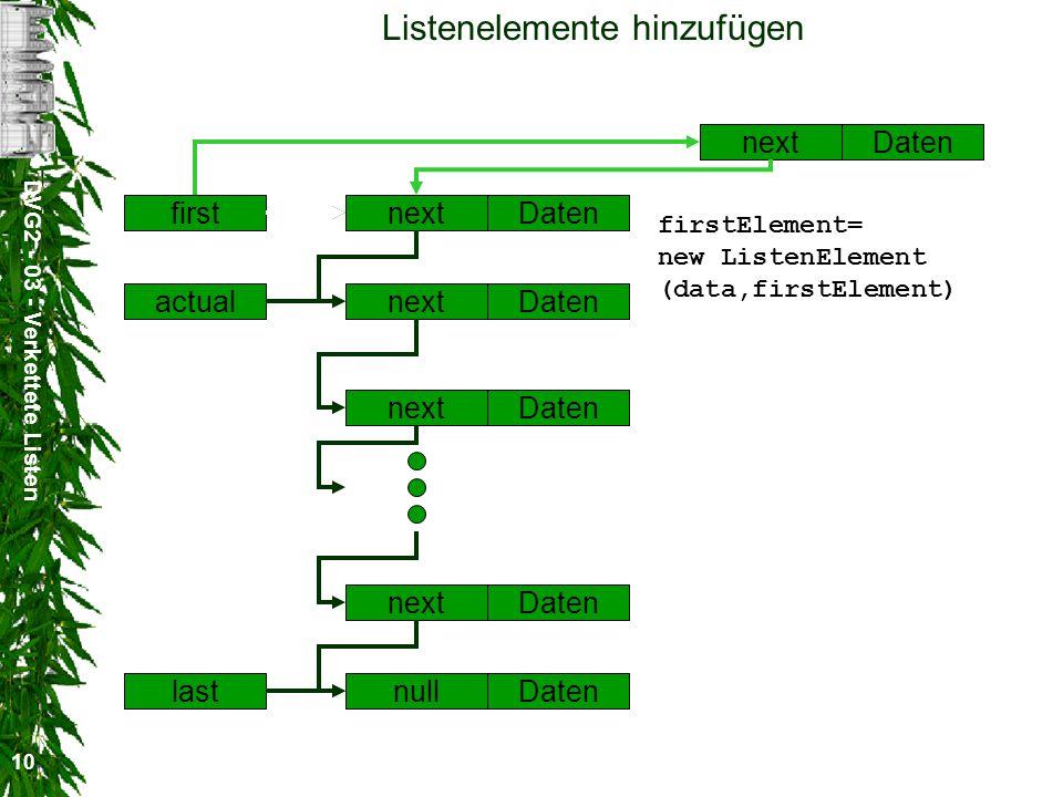 DVG2 - 03 - Verkettete Listen 10 Listenelemente hinzufügen nextDatennextDaten nextDaten nextDaten nextDaten nullDaten first actual last firstElement= new ListenElement (data,firstElement)
