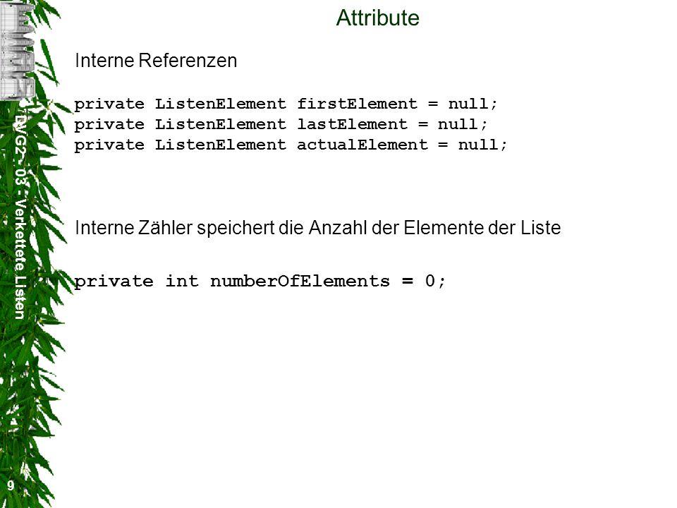 DVG2 - 03 - Verkettete Listen 20 Beispiel Liste l = new Liste( Element 0 ); String [] s = { Element 1 , Element 2 , Element 3 , Element 4 }; l.append(s); l.append( Element 5 ); System.out.println( first = + (String)l.getFirst()); System.out.println( last = + (String)l.getLast()); String element; l.reset(); while ( (element=(String)l.getNext()) != null) { System.out.