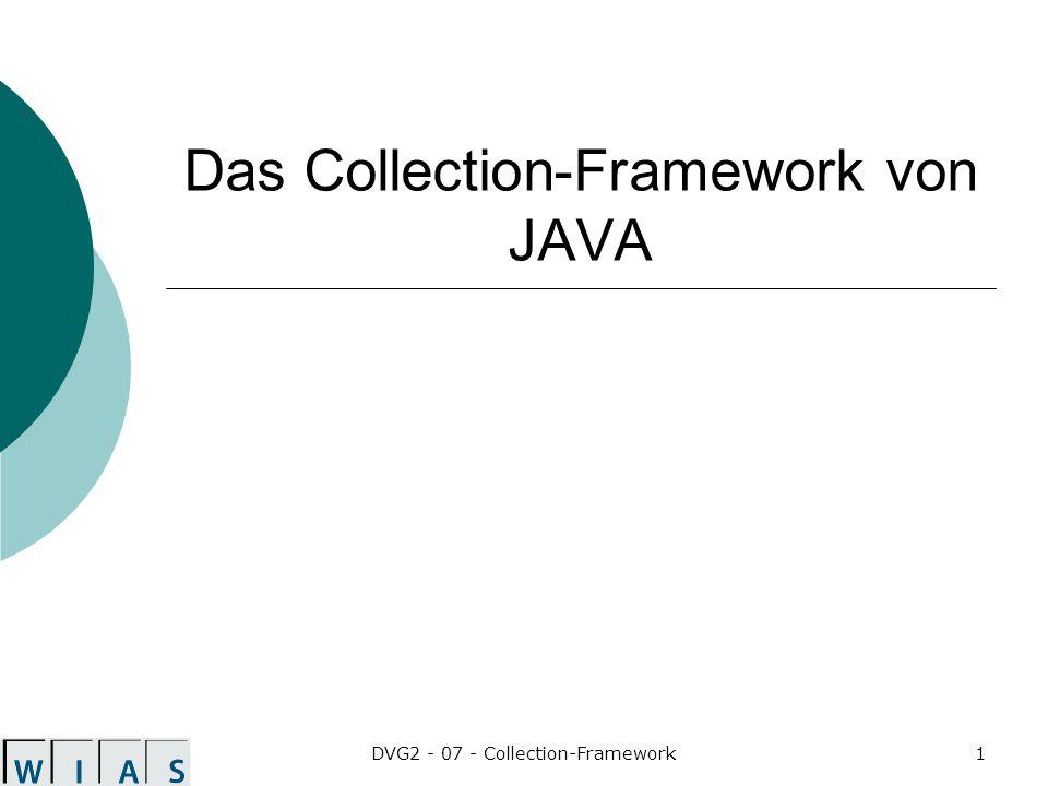 DVG2 - 07 - Collection-Framework22 Konstruktoren von ArrayList public ArrayList() public ArrayList(Collection c) public ArrayList(int initialCapacity) erzeugt eine ArrayList mit der Kapazität initalCapacity