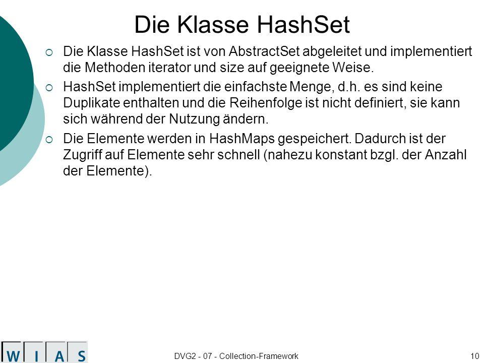 DVG2 - 07 - Collection-Framework10 Die Klasse HashSet Die Klasse HashSet ist von AbstractSet abgeleitet und implementiert die Methoden iterator und size auf geeignete Weise.