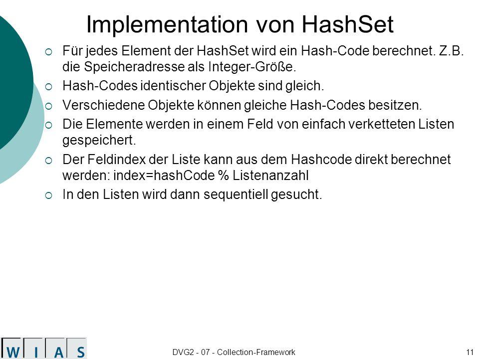 DVG2 - 07 - Collection-Framework11 Implementation von HashSet Für jedes Element der HashSet wird ein Hash-Code berechnet.