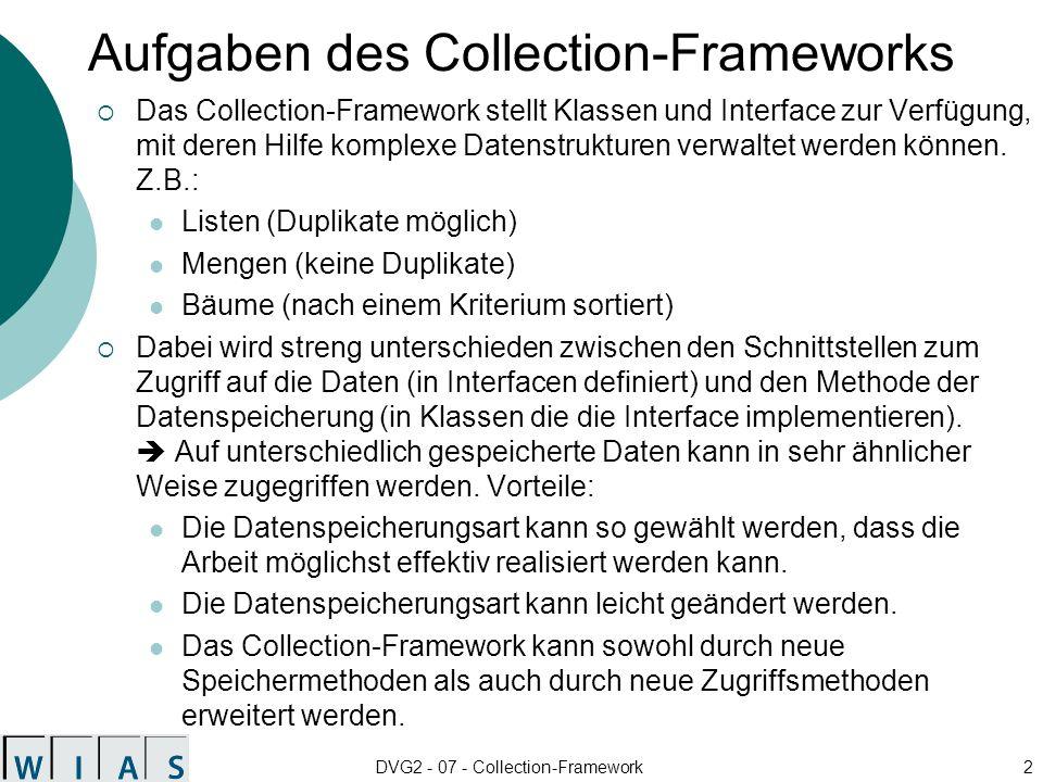 DVG2 - 07 - Collection-Framework3 Struktur des Collection-Frameworks AbstractCollection AbstractSetAbstractList AbstractSequentialList Set Collection SortedSet List HashSet TreeSetArrayListLinkedListLinkedHashSetVector