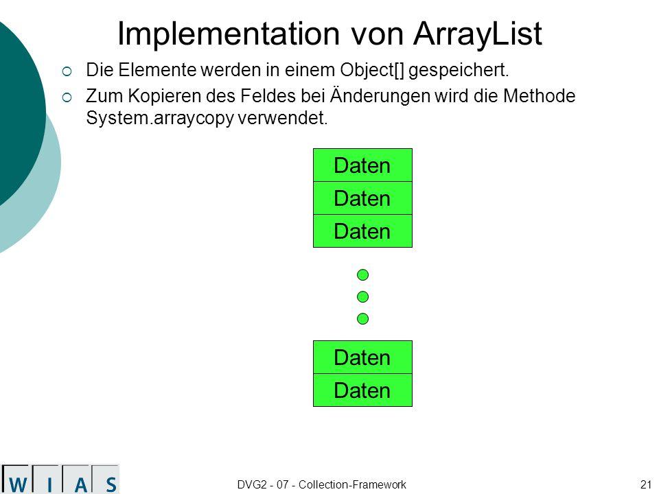 DVG2 - 07 - Collection-Framework21 Implementation von ArrayList Die Elemente werden in einem Object[] gespeichert.
