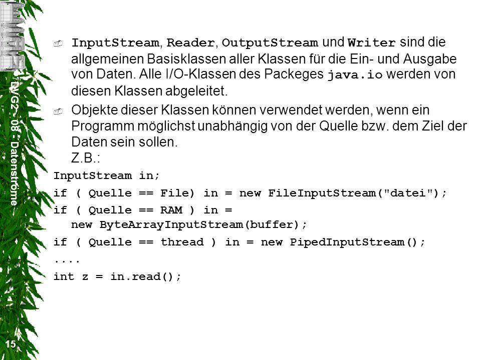 DVG2 - 08 - Datenströme 15 InputStream, Reader, OutputStream und Writer sind die allgemeinen Basisklassen aller Klassen für die Ein- und Ausgabe von D