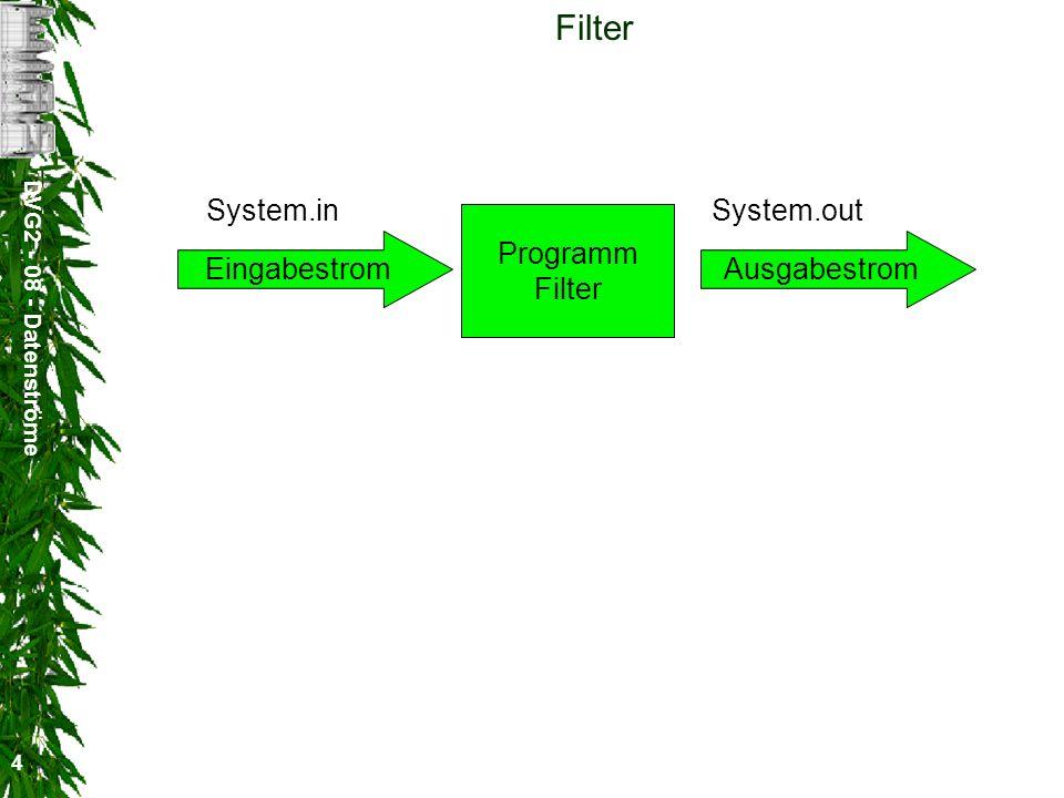 DVG2 - 08 - Datenströme 4 Filter Programm Filter EingabestromAusgabestrom System.inSystem.out
