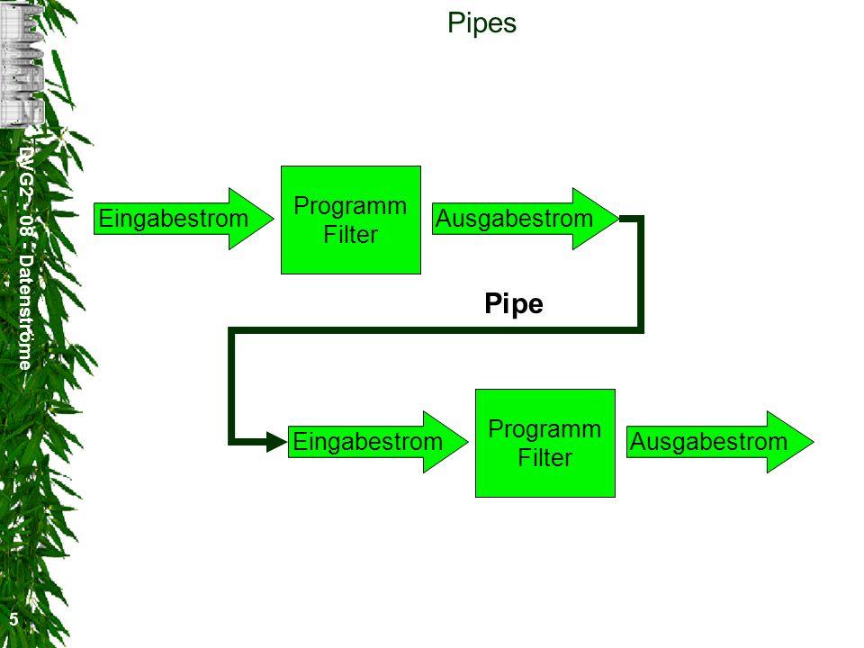 DVG2 - 08 - Datenströme 5 Pipes Programm Filter EingabestromAusgabestrom Programm Filter EingabestromAusgabestrom Pipe