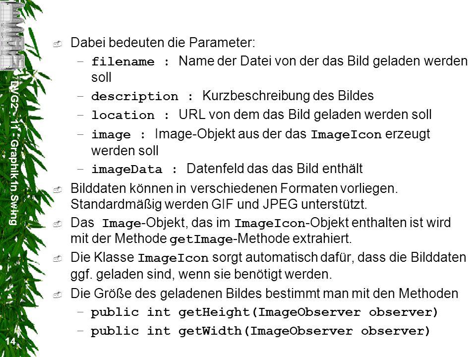 DVG2 - 11 - Graphik in Swing 14 Dabei bedeuten die Parameter: –filename : Name der Datei von der das Bild geladen werden soll –description : Kurzbesch