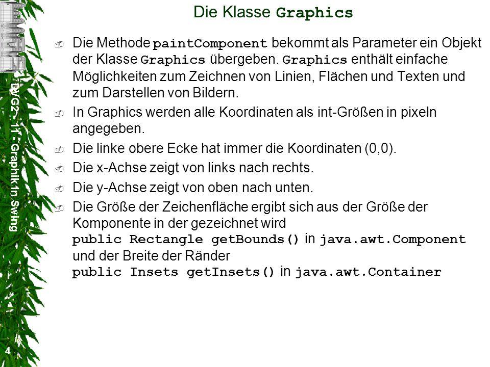 DVG2 - 11 - Graphik in Swing 4 Die Klasse Graphics Die Methode paintComponent bekommt als Parameter ein Objekt der Klasse Graphics übergeben. Graphics