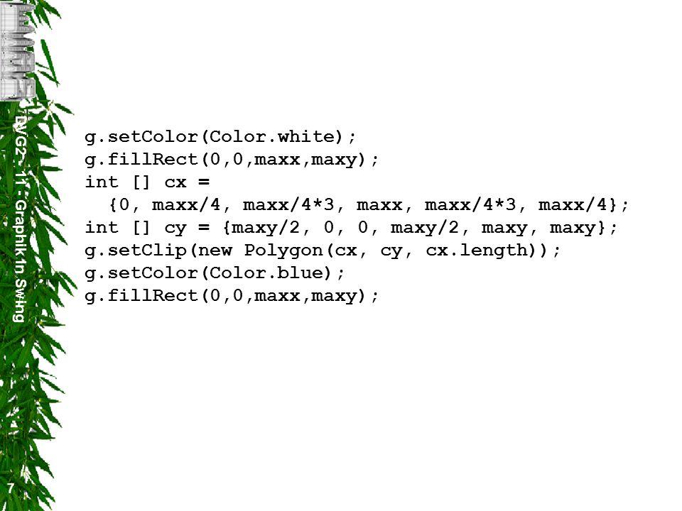 DVG2 - 11 - Graphik in Swing 8 Zeichenmethode in Graphics public void drawLine(int x1, int y1, int x2, int y2) zeichnet eine Linie von (x1,y1) nach (x2,y2) public void drawRect(int x, int y, int width, int height ) zeichnet ein Rechteck mit der linken oberen Ecke (x,y) und der Breite width und der Höhe height public void draw3DRect(int x, int y, int width, int height, boolean raised) wie drawRect, nur dass der Rand erhöht (raised=true) oder vertieft (raised=false) dargestellt wird public void drawRoundRect(int x, int y, int width, int height, int arcWidth, int arcHeight) wie drawRect, nur dass die Ecken gerundet werden public void drawOval(int x, int y, int width, int height) zeichnet ein Ellipsoid, das in das Rechteck mit der linken oberen Ecke (x,y) und der Breite width und der Höhe height passt