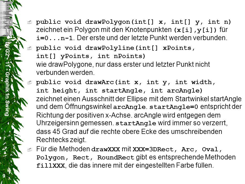 DVG2 - 11 - Graphik in Swing 10 Text schreiben Zum Schreiben von Text gibt es eine Reihe von Methoden: –public void drawBytes(byte[] data, int offset, int length, int x, int y) –public void drawChars(char[] data, int offset, int length, int x, int y) –public void drawString(String str, int x, int y) Die Schriftart und -größe wird mit Hilfe der Methode public void setFont(Font font) festgelegt.