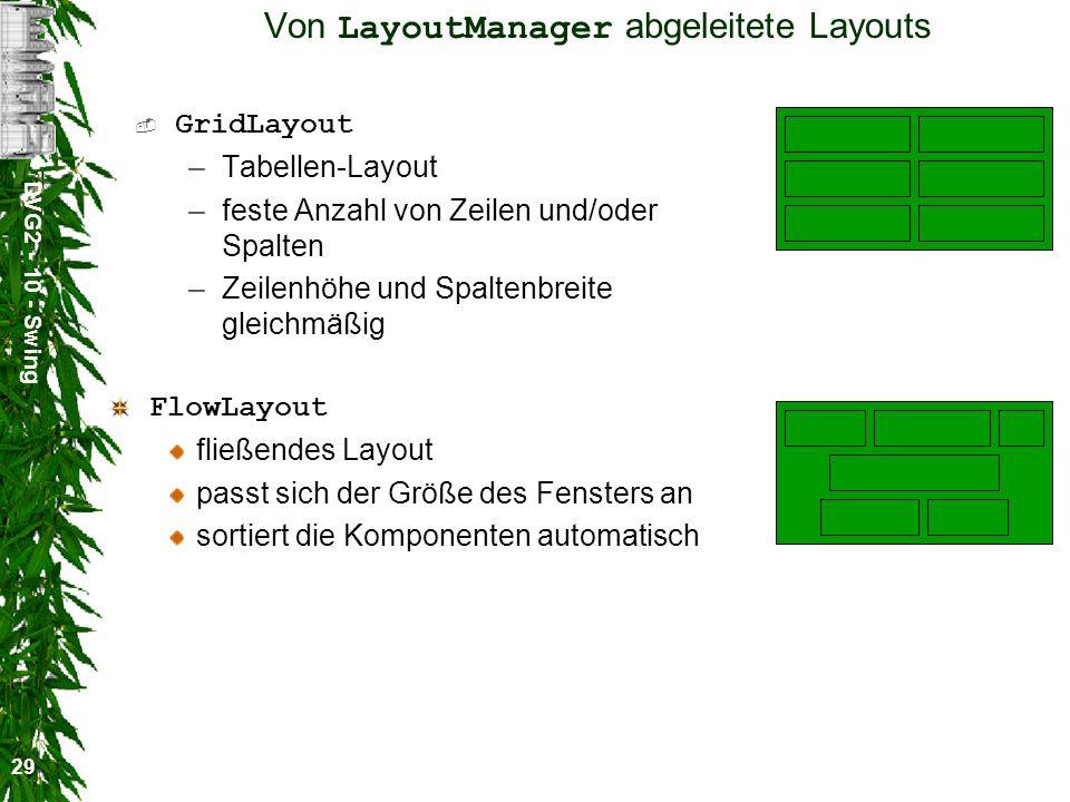 DVG2 - 10 - Swing 29 Von LayoutManager abgeleitete Layouts GridLayout –Tabellen-Layout –feste Anzahl von Zeilen und/oder Spalten –Zeilenhöhe und Spaltenbreite gleichmäßig FlowLayout fließendes Layout passt sich der Größe des Fensters an sortiert die Komponenten automatisch