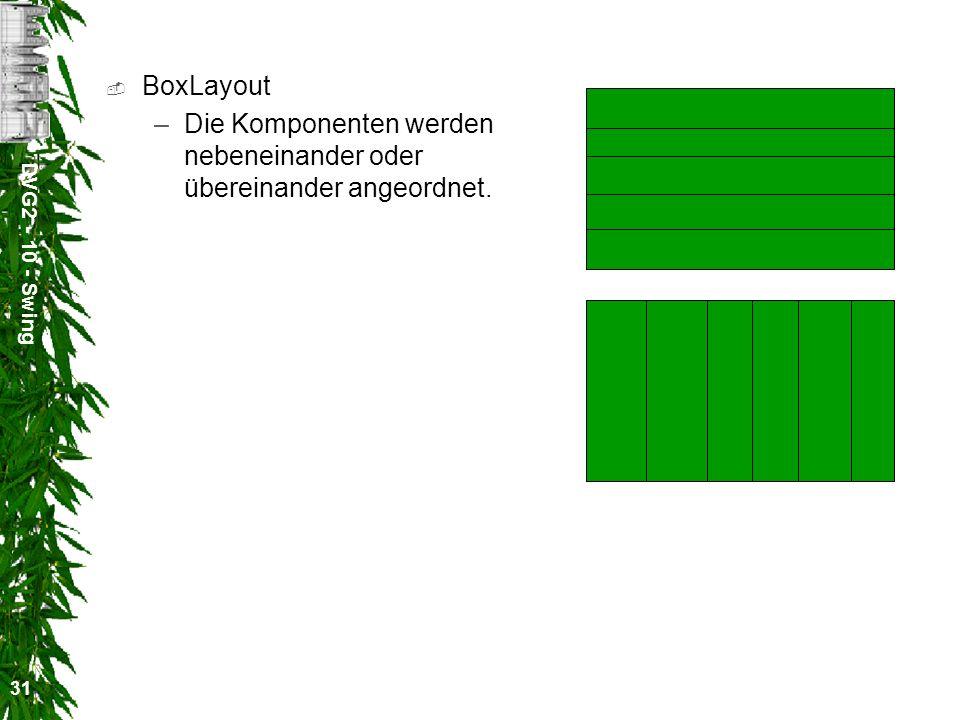 DVG2 - 10 - Swing 31 BoxLayout –Die Komponenten werden nebeneinander oder übereinander angeordnet.