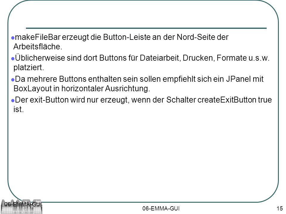 06-EMMA-GUI 15 makeFileBar erzeugt die Button-Leiste an der Nord-Seite der Arbeitsfläche. Üblicherweise sind dort Buttons für Dateiarbeit, Drucken, Fo