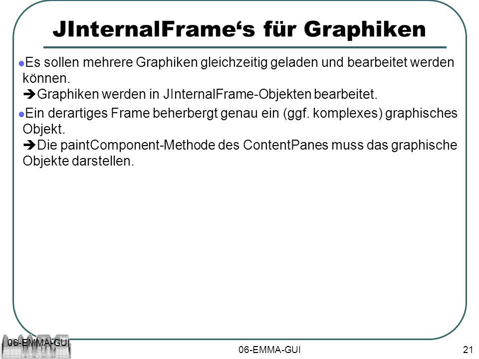 06-EMMA-GUI 21 JInternalFrames für Graphiken Es sollen mehrere Graphiken gleichzeitig geladen und bearbeitet werden können. Graphiken werden in JInter