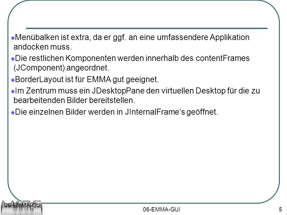 06-EMMA-GUI 5 Menübalken ist extra, da er ggf. an eine umfassendere Applikation andocken muss. Die restlichen Komponenten werden innerhalb des content
