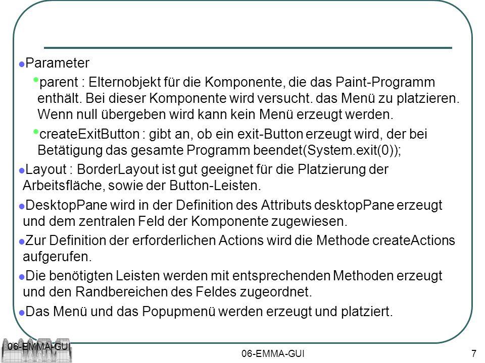 06-EMMA-GUI 7 Parameter parent : Elternobjekt für die Komponente, die das Paint-Programm enthält. Bei dieser Komponente wird versucht. das Menü zu pla