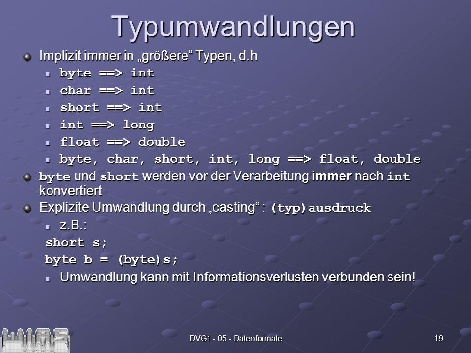 19DVG1 - 05 - DatenformateTypumwandlungen Implizit immer in größere Typen, d.h byte ==> int byte ==> int char ==> int char ==> int short ==> int short