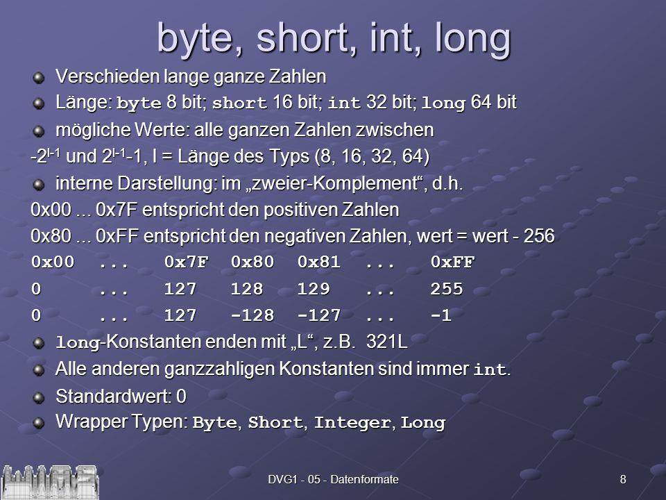 8DVG1 - 05 - Datenformate byte, short, int, long Verschieden lange ganze Zahlen Länge: byte 8 bit; short 16 bit; int 32 bit; long 64 bit mögliche Wert