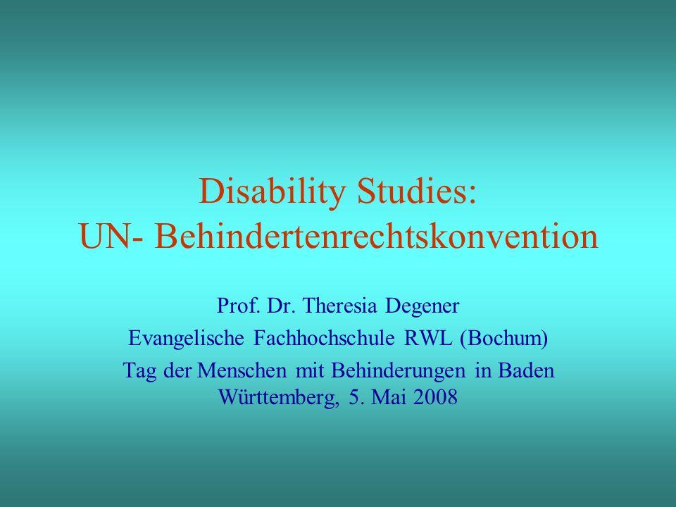 2 Agenda 1.Disability Studies 2.Die UN Behindertenrechtskonvention aus DS – Perspektive 3.Ursula Eggli- eine Grande Dame der DS