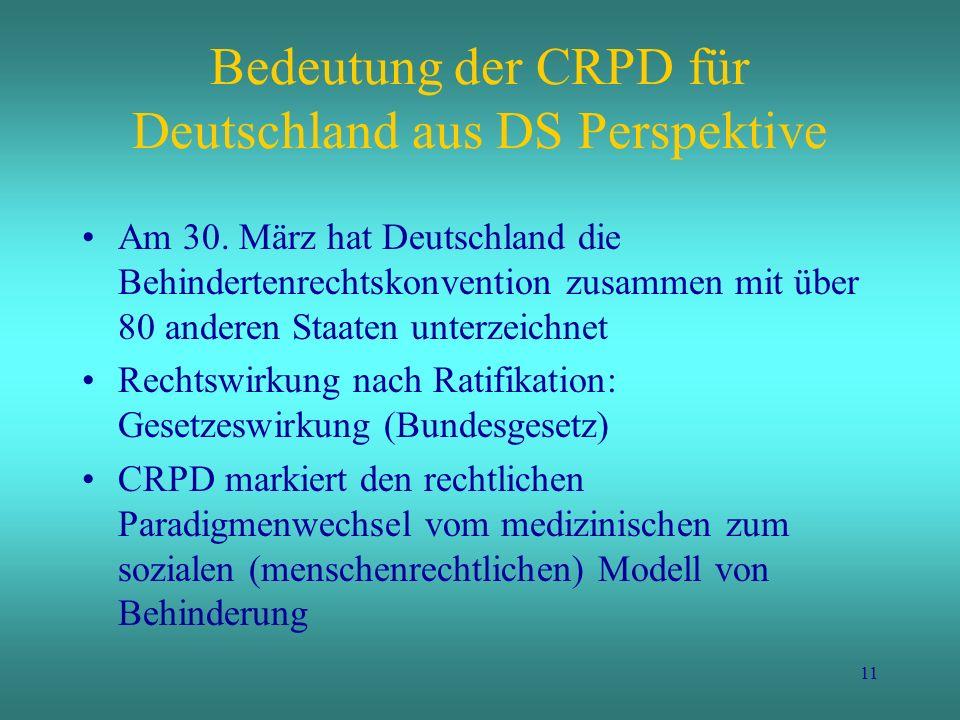 11 Bedeutung der CRPD für Deutschland aus DS Perspektive Am 30. März hat Deutschland die Behindertenrechtskonvention zusammen mit über 80 anderen Staa