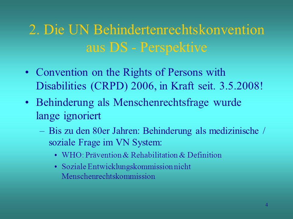 5 Wandel in den 80er Jahren 1981 Internationales Jahr der Behinderten 1983 – 1992 UN Dekade der Behinderten 1986 & 1993 Berichte über Menschenrechts- situation behinderter Menschen in der UN Menschenrechtskom- mission 1993 UN- Rahmen- bestimmungen zur Herstellung der Chancen- gleichheit für Menschen mit Behinderungen