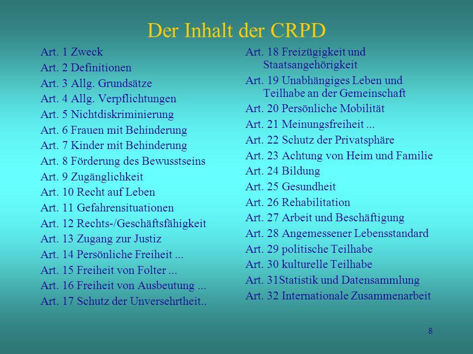 9 Status der CRPD am 8. April 2008: 127 Unterzeichner / 20 Ratifikationen