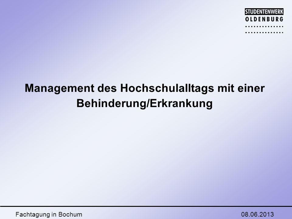 08.06.2013Fachtagung in Bochum Management des Hochschulalltags mit einer Behinderung/Erkrankung