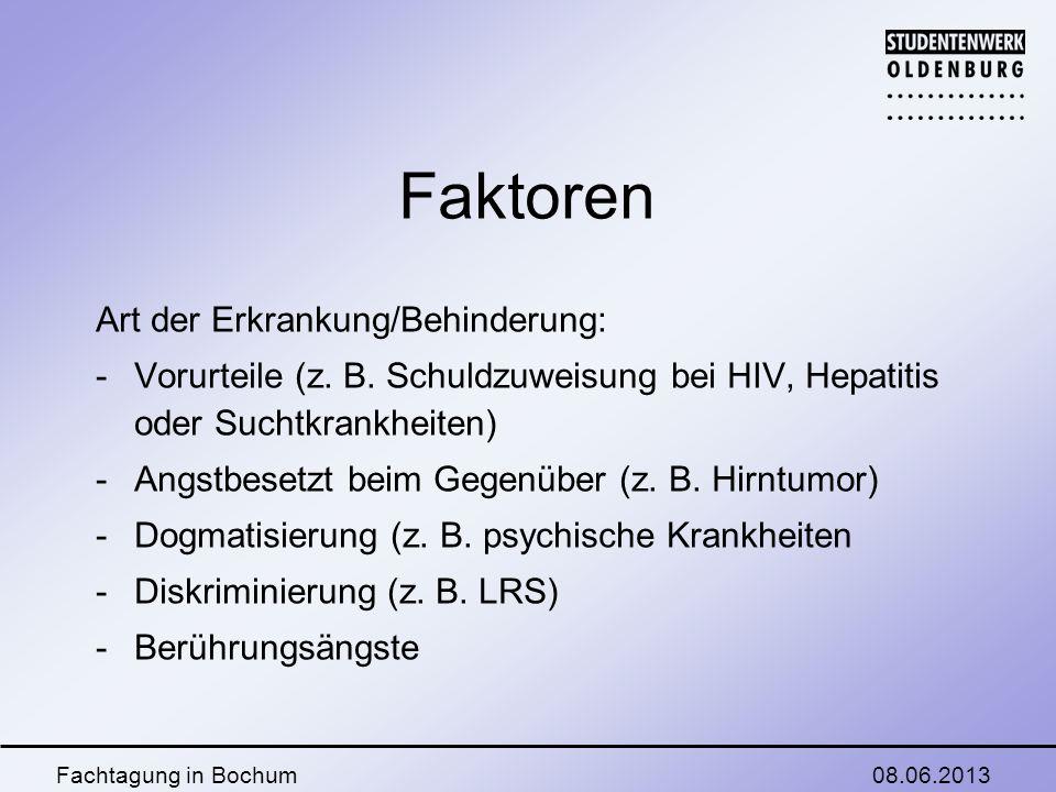 08.06.2013Fachtagung in Bochum Faktoren Art der Erkrankung/Behinderung: - Vorurteile (z.