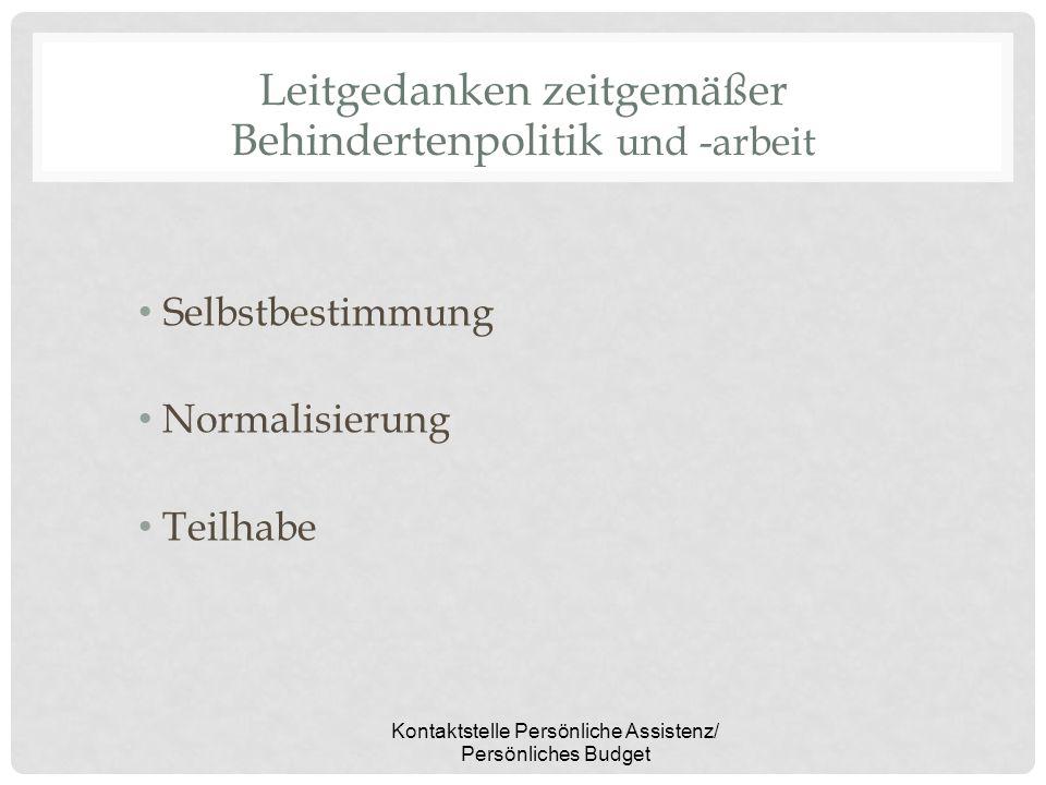 Kontaktstelle Persönliche Assistenz/ Persönliches Budget Leitgedanken zeitgemäßer Behindertenpolitik und -arbeit Selbstbestimmung Normalisierung Teilh