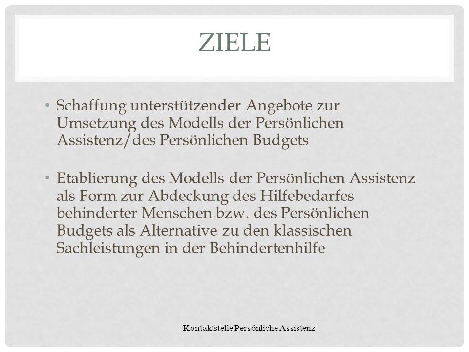 Kontaktstelle Persönliche Assistenz ZIELE Schaffung unterstützender Angebote zur Umsetzung des Modells der Persönlichen Assistenz/des Persönlichen Bud