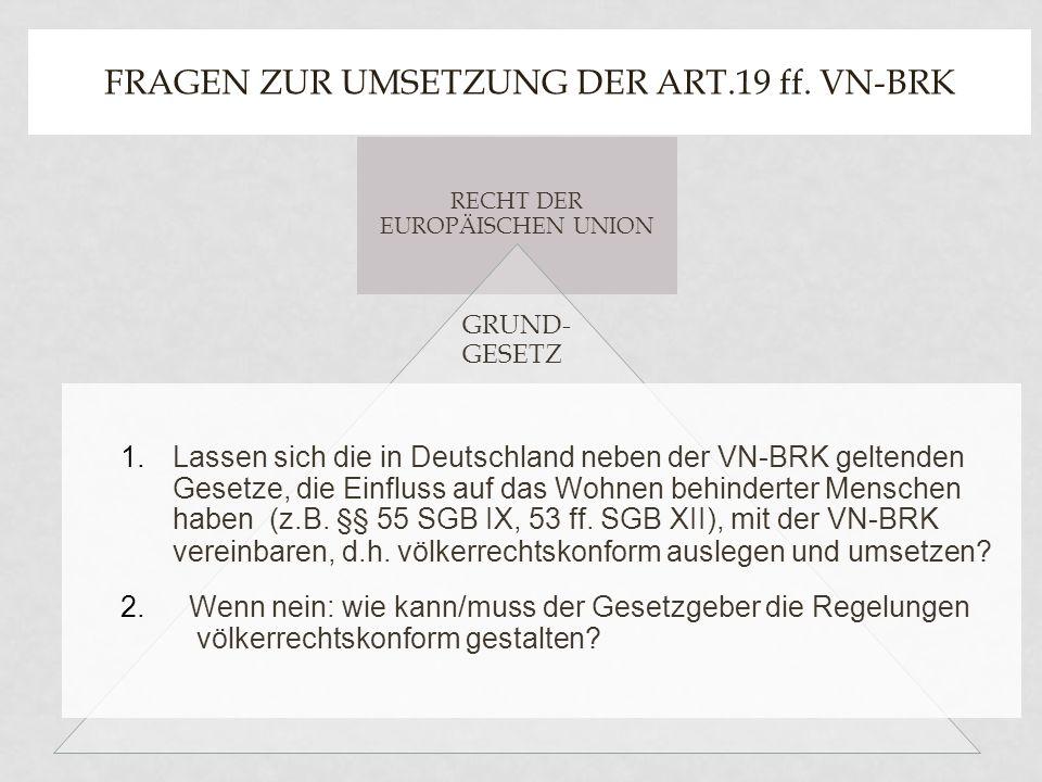 RECHT DER EUROPÄISCHEN UNION GRUND- GESETZ FRAGEN ZUR UMSETZUNG DER ART.19 ff. VN-BRK 1.Lassen sich die in Deutschland neben der VN-BRK geltenden Gese