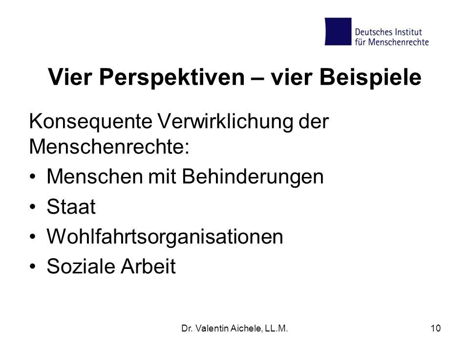 Vier Perspektiven – vier Beispiele Konsequente Verwirklichung der Menschenrechte: Menschen mit Behinderungen Staat Wohlfahrtsorganisationen Soziale Arbeit Dr.