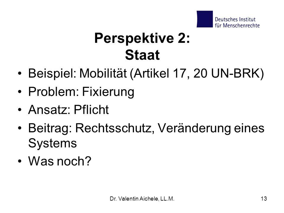 Perspektive 2: Staat Beispiel: Mobilität (Artikel 17, 20 UN-BRK) Problem: Fixierung Ansatz: Pflicht Beitrag: Rechtsschutz, Veränderung eines Systems Was noch.