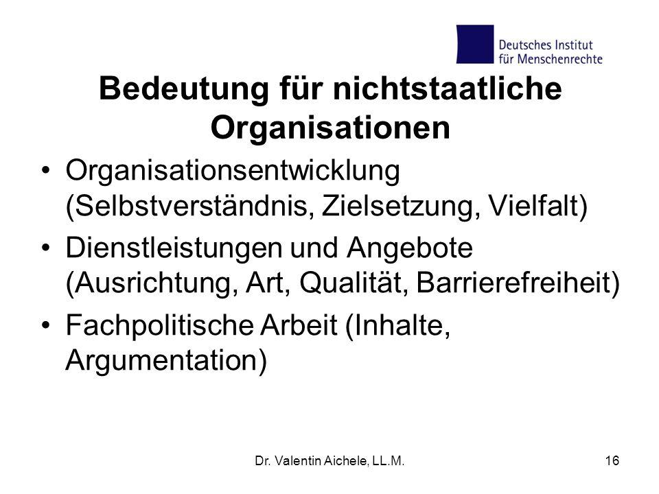 Bedeutung für nichtstaatliche Organisationen Organisationsentwicklung (Selbstverständnis, Zielsetzung, Vielfalt) Dienstleistungen und Angebote (Ausrichtung, Art, Qualität, Barrierefreiheit) Fachpolitische Arbeit (Inhalte, Argumentation) Dr.