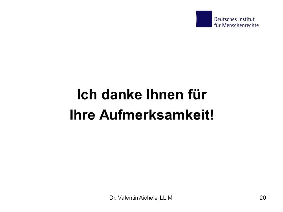 Dr. Valentin Aichele, LL.M.20 Ich danke Ihnen für Ihre Aufmerksamkeit!