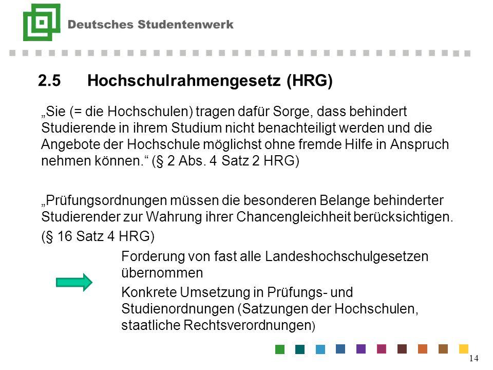 2.5Hochschulrahmengesetz (HRG) 14 Sie (= die Hochschulen) tragen dafür Sorge, dass behindert Studierende in ihrem Studium nicht benachteiligt werden u