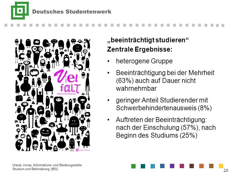 beeinträchtigt studieren Zentrale Ergebnisse: heterogene Gruppe Beeinträchtigung bei der Mehrheit (63%) auch auf Dauer nicht wahrnehmbar geringer Ante