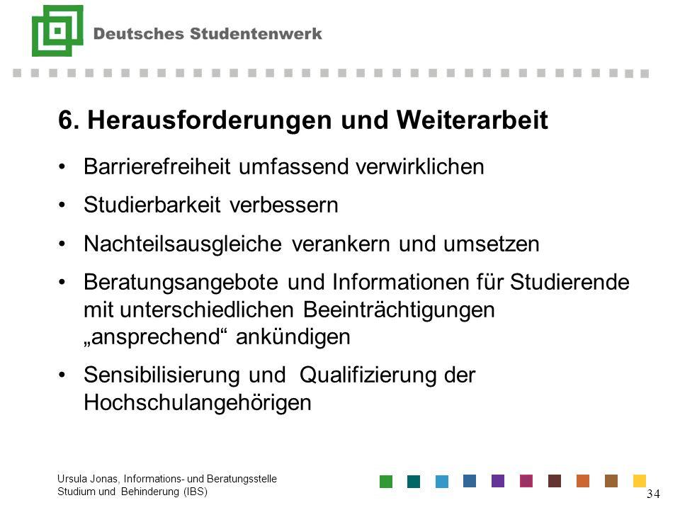 6. Herausforderungen und Weiterarbeit Barrierefreiheit umfassend verwirklichen Studierbarkeit verbessern Nachteilsausgleiche verankern und umsetzen Be