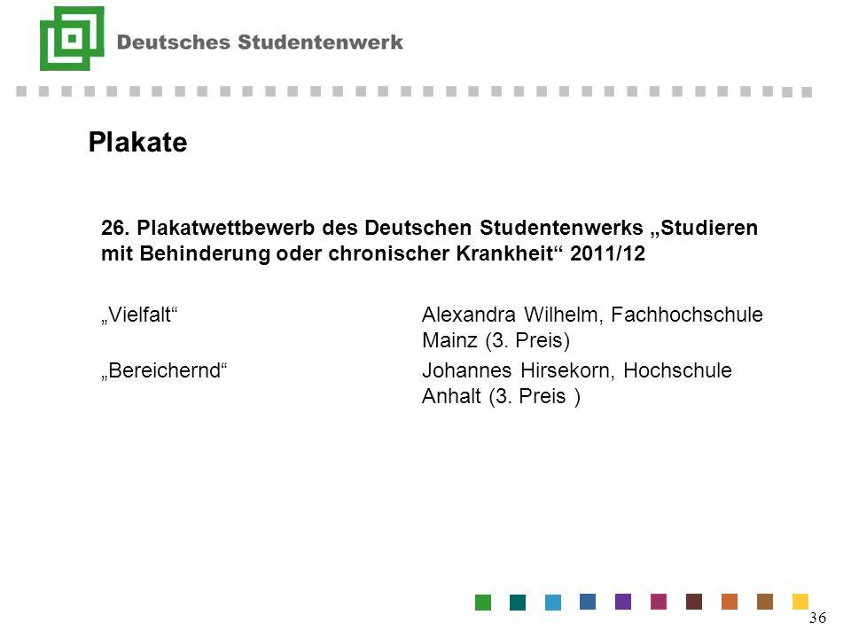 Plakate 26. Plakatwettbewerb des Deutschen Studentenwerks Studieren mit Behinderung oder chronischer Krankheit 2011/12 VielfaltAlexandra Wilhelm, Fach