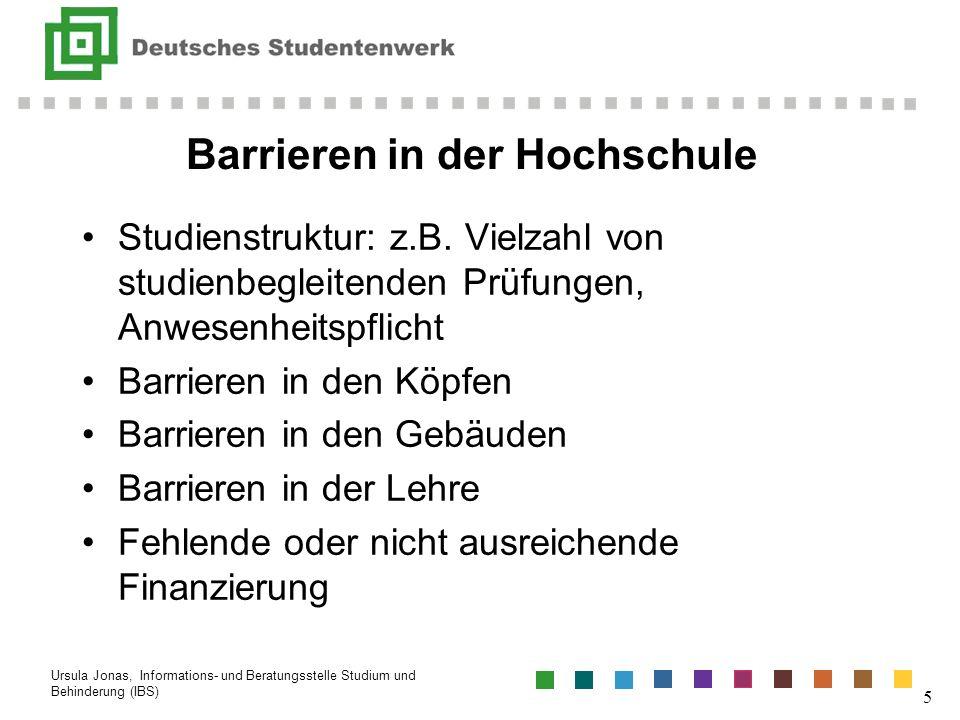 Barrieren in der Hochschule Studienstruktur: z.B. Vielzahl von studienbegleitenden Prüfungen, Anwesenheitspflicht Barrieren in den Köpfen Barrieren in
