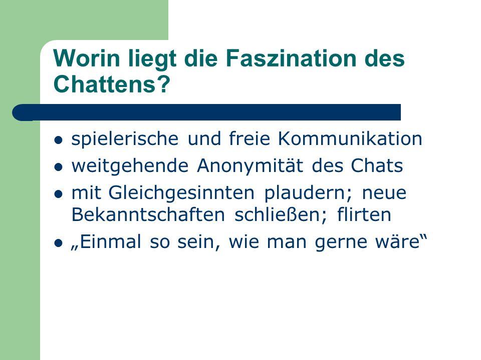 Chatten to chat (engl.): plaudern, sich unterhalten Chatroom (kurz: Chat) : Treffpunkt im www Zunächst Treffpunkt für wenige Computerfreaks