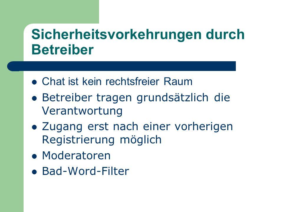 Arten von Chats Reine Chat-Portale oder Community- Plattformen Websites von Unternehmen Nichtkommerzielle Chatanbieter Geschützte Räume