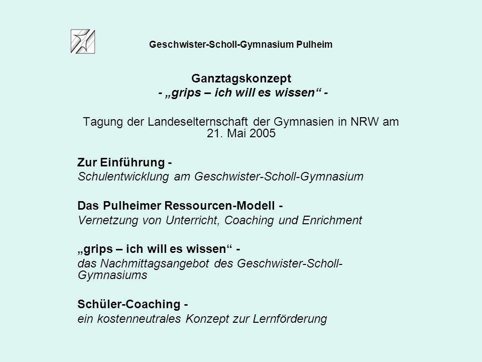 Geschwister-Scholl-Gymnasium Pulheim Ganztagskonzept - grips – ich will es wissen - Tagung der Landeselternschaft der Gymnasien in NRW am 21. Mai 2005