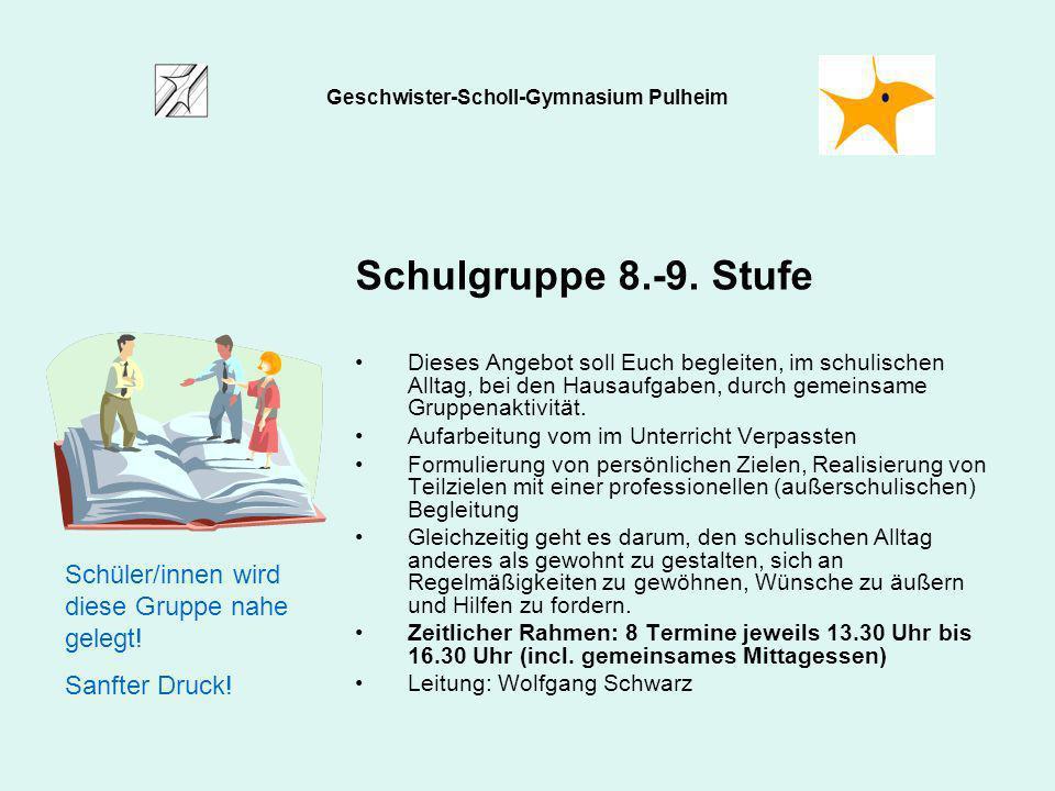 Schulgruppe 8.-9. Stufe Dieses Angebot soll Euch begleiten, im schulischen Alltag, bei den Hausaufgaben, durch gemeinsame Gruppenaktivität. Aufarbeitu