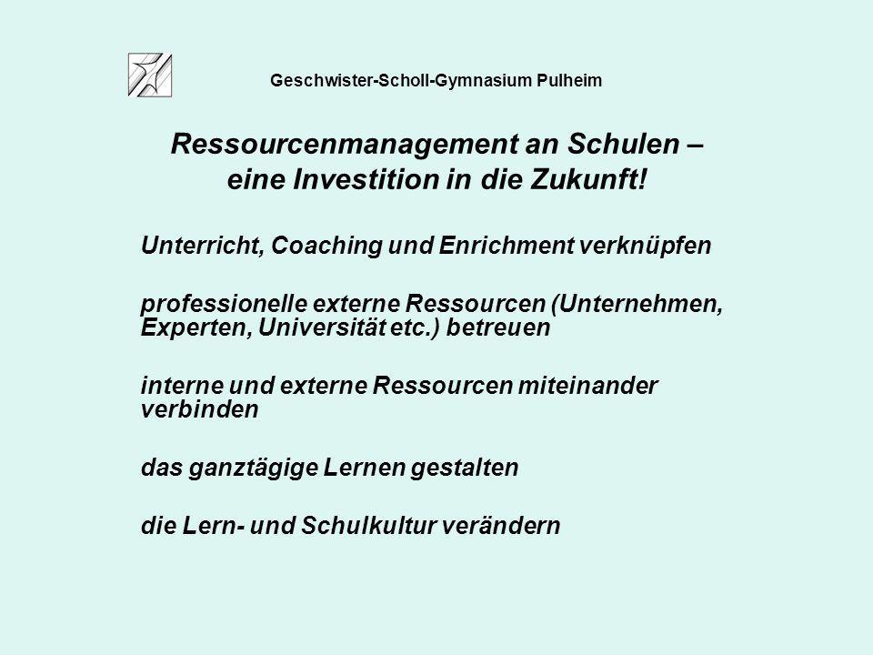 Geschwister-Scholl-Gymnasium Pulheim Ressourcenmanagement an Schulen – eine Investition in die Zukunft! Unterricht, Coaching und Enrichment verknüpfen