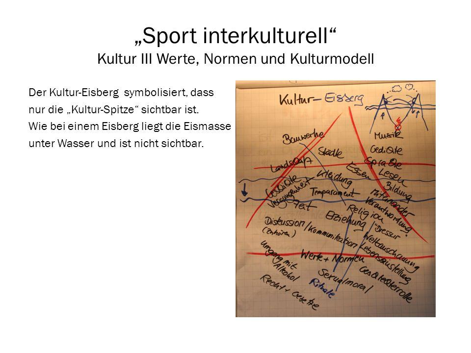 Sport interkulturell Kultur III Werte, Normen und Kulturmodell Der Kultur-Eisberg symbolisiert, dass nur die Kultur-Spitze sichtbar ist. Wie bei einem